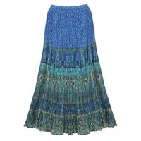 Catalog Classics Women's Peasant Skirt -Broomstick Maxi in Blues and Green