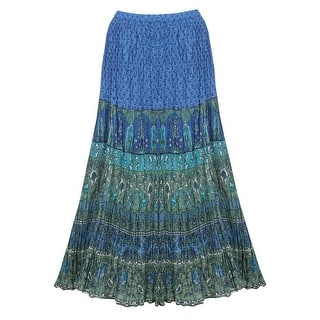 ccccf3c3a0d6 Catalog Classics Women's Peasant Skirt -Broomstick Maxi in Blues and Green