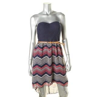 City Triangles Womens Juniors Asymmetrical Mixed Media Casual Dress - 9