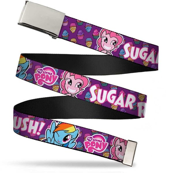 Blank Chrome Buckle Pinkie Pie & Rainbow Dash Cupcakes Sugar Rush! Web Belt