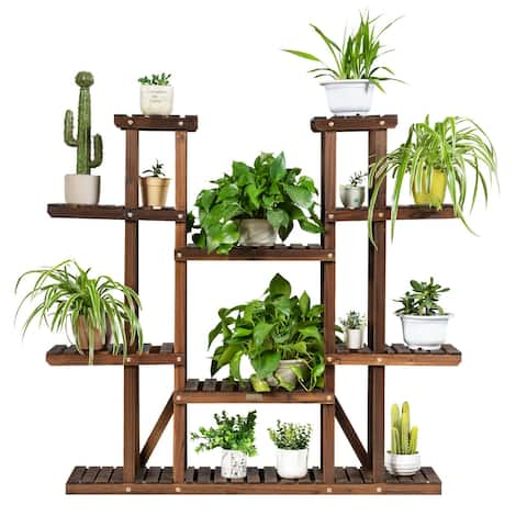 Gymax 9 Tier Wood Plant Stand 45'' High Carbonized 17 Potted Flower - 32'' x 10'' x 30'' (L x W x H)