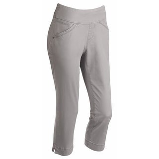 Women's Gray Capris - Pull-On Stretch Cropped Pants