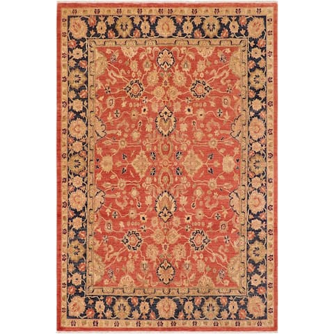 Shabby Chic Ziegler Hillary Rust/Blue Hand knotted Rug - 7'9 x 10'0 - 7 ft. 9 in. X 10 ft. 0 in.