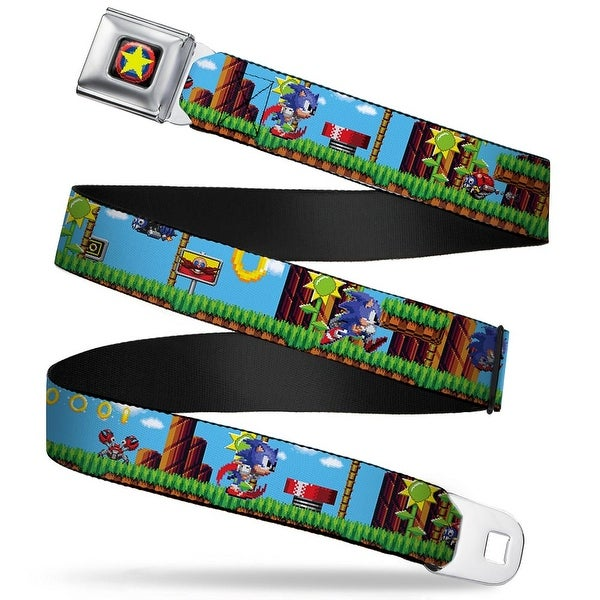 Sonic Classic Sonic Star Pixelated Full Color Black Red Blue Yellow Sonic Seatbelt Belt