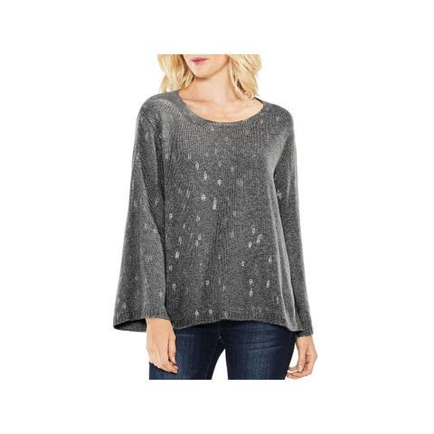 Vince Camuto Womens Crewneck Sweater Bell Sleeve Foil Print