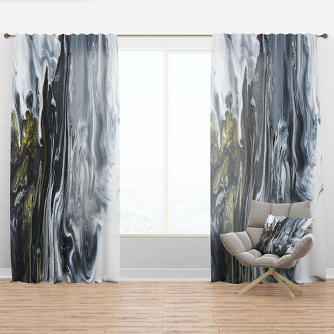 Designart 'White, grey and White Hand Painted Marble Acrylic' Mid-CenturyCurtain Panel