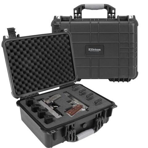 Elkton Outdoors Hard Gun Case: Fully Customizable Pistol Case: Holds 4 Handguns and 8 Magazines: Crush Resistant & Waterproof!
