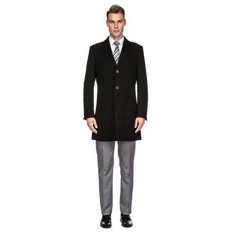 Braveman Men's Tailored Wool Blend Notch Collar Walker Car Coat Jacket