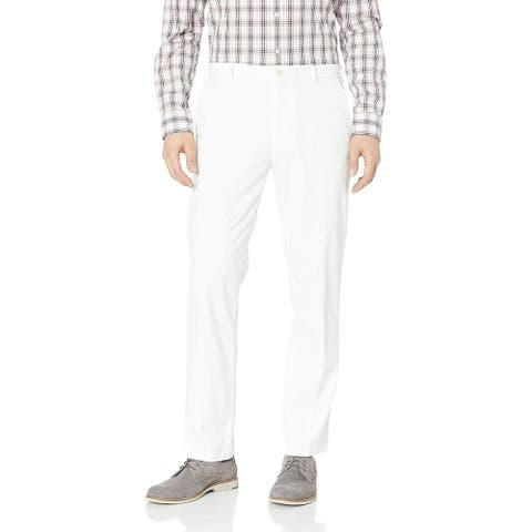 IZOD Mens Chino Pants Crisp White Size 38x34 Stretch Staright-Fit