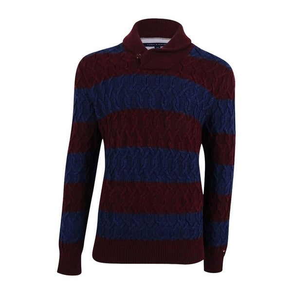 Shop Tommy Hilfiger Mens Sheffield Striped Cable Knit Sweater