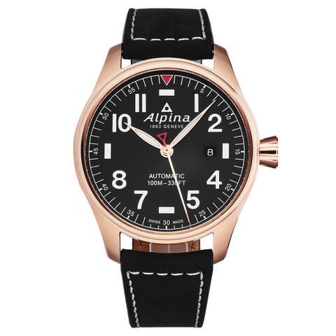 Alpina mens 'startimer pilot' black dial black leather strap automatic watch al-525nn4s4