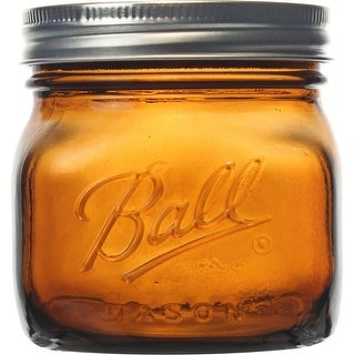 Ball(R) Wide Mouth Canning Jars 4/Pkg-Pint Elite Color Series Amber, 16Oz