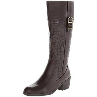 LifeStride Womens Wish Riding Boots Faux Leather Embossed
