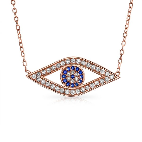 8bf0b56fa81d1c Cubic Zirconia Pave CZ Turkish Evil Eye Station Pendant Necklace For Women  For Teen Rose Gold