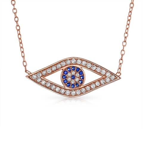 Turkish Blue Evil Eye CZ Station Pendant Necklace 925 Sterling Silver