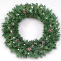 """42"""" Pre-Lit Cheyenne Pine with Cones Artificial Christmas Wreath - Clear Lights - green"""