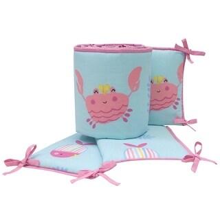 Link to Bedtime Originals Sugar Reef Blue/Pink Nautical Crab & Fish 4-Piece Crib Bumper Similar Items in Bumper Pads