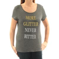 JAMIE & LAYLA Womens Gray More Glitter Short Sleeve Scoop Neck Top  Size: L