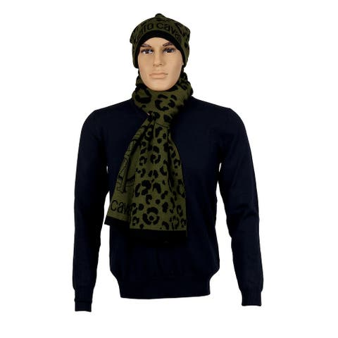 Roberto Cavalli Grey/Black Leopard Print with Signature Wool Blend Hat and Scarf Set-One Size - One Size