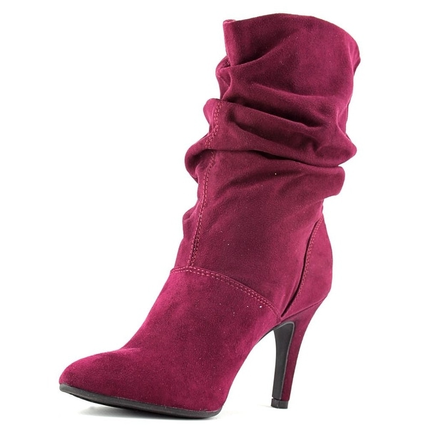 Style & Co Adelay Women Pointed Toe Canvas Burgundy Mid Calf Boot