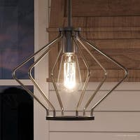 "Luxury Mid-Century Modern Pendant Light, 9.625""H x 13""W, with Industrial Chic Style, Brushed Nickel Finish by Urban Ambiance"