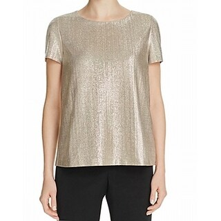 Lafayette 148 New York NEW Gold Womens Size Medium M Shimmer Blouse