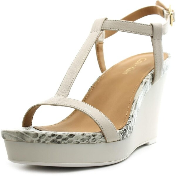 Calvin Klein Jiselle Women Open Toe Leather White Wedge Sandal