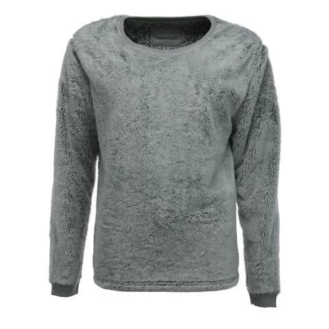 Boxercraft Women's Plus Size Fuzzy Fleece Crew Sweatshirt - Grey