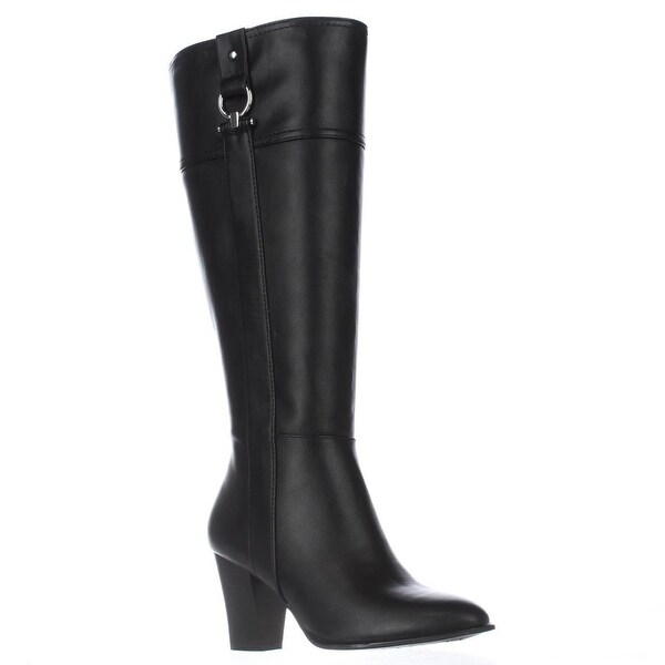 A35 Courtee Wide Calf Heeled Knee High Boots, Black