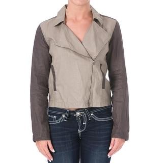 Eileen Fisher Womens Linen Contrast Trim Jacket
