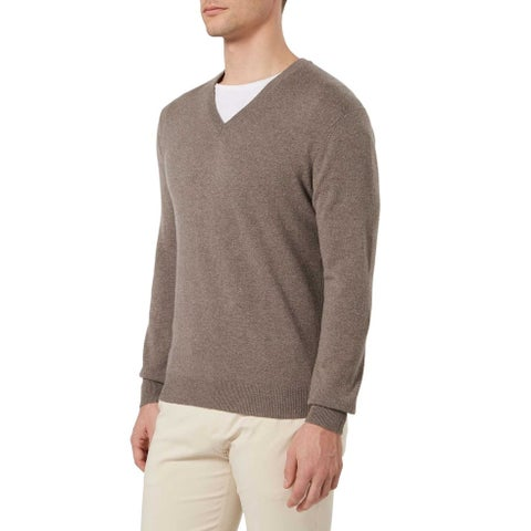 Bloomingdales Mens 2-Ply Cashmere V-Neck Sweater Toasted Almond