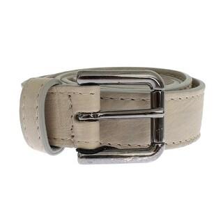 Dolce & Gabbana Dolce & Gabbana Beige Leather Silver Buckle Logo Belt