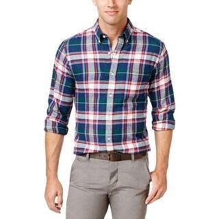 John Ashford Mens Meridian Button-Down Shirt Flannel Plaid