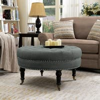 """Belleze 33"""" inch Round Tufted Linen Ottoman Large Footstool Cocktail with Caster, Gray / Beige"""