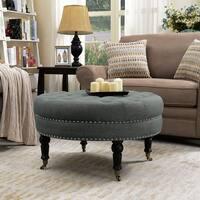 Belleze Round Button Tufted Cushion Ottoman Nailhead Trim w/ Caster Wheel, Gray