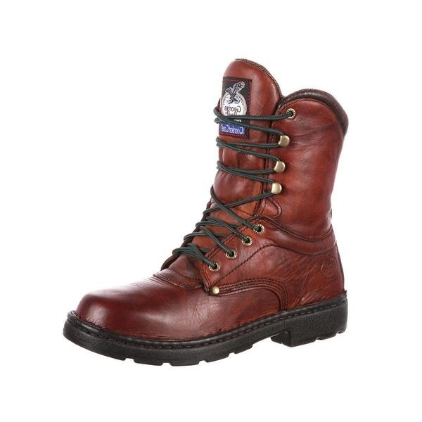 """Georgia Boot Work Men 8"""" Eagle Lite Comfort Core Russet Wildwood"""