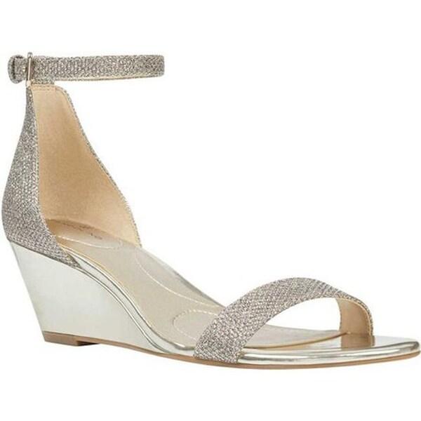 Shop Bandolino Women S Omira Ankle Strap Wedge Sandal Gold