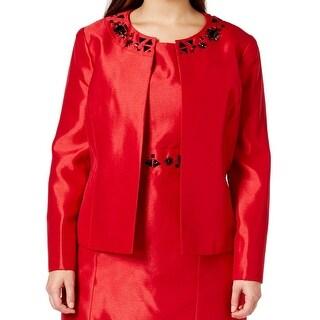 Kasper NEW Red Women's Size 20W Plus Embellished Open Shimmer Jacket