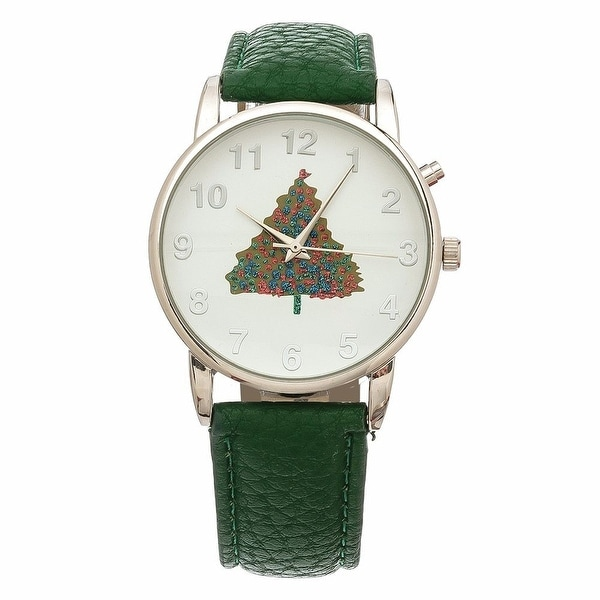 Women's Holiday Music Christmas Tree Watch With Green Leather Band