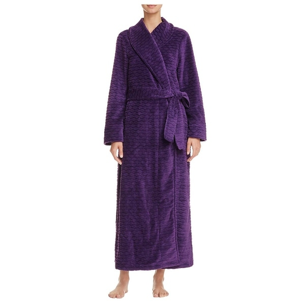 889920aa46 Oscar De La Renta Pink Label Womens Violet Plush Long Robe Large X-Large