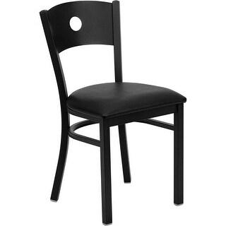 Dyersburg Black Circle Back Metal Restaurant/Pub/Bar Chair, Black Vinyl Seat