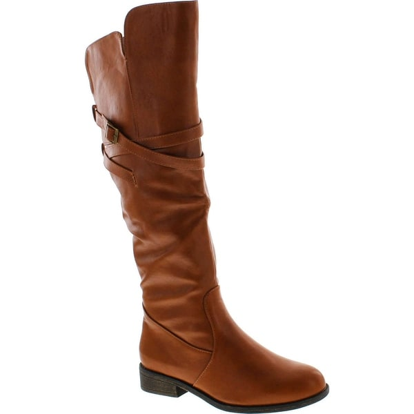 Top Moda Womens Fay-3 Knee High Buckle Riding Boots