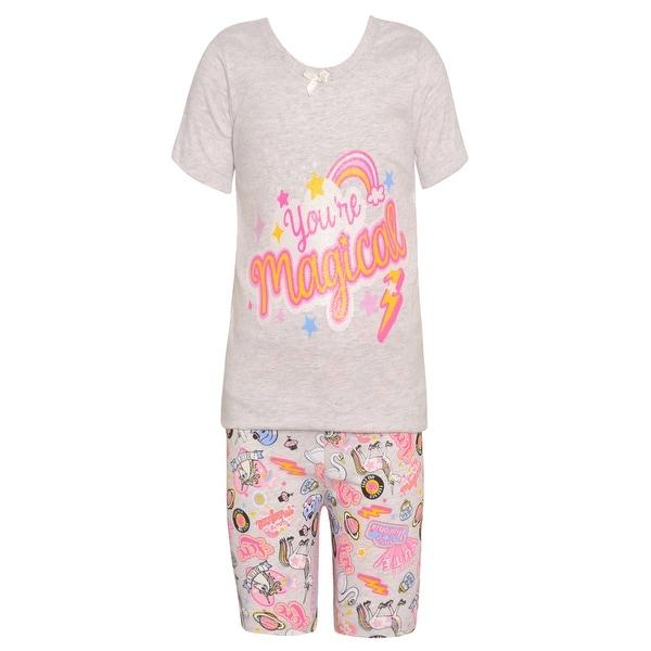 Sol Sleep Little Girls Gray Rainbow Short Sleeved Top 2 Pc Pajama Set