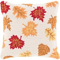 "18"" Cream Brown and Autumn Red Leaves Dropping Decorative Throw Pillow –Down Filler"