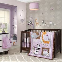 Lambs & Ivy Ladybug Jungle Purple/Brown Elephant, Zebra, Giraffe & Hippo Nursery 4-Piece Baby Crib Bedding Set