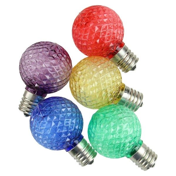 Pack of 25 Faceted LED G40 Multi-Color Christmas Replacement Bulbs