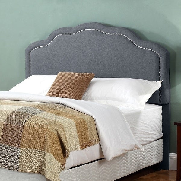 Renee Fabric-upholstered Panel Headboard with Nailhead Trim. Opens flyout.