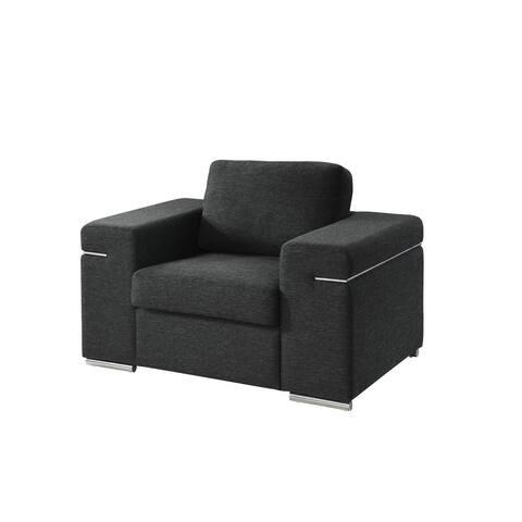 Gianna Black Linen Fabric Arm Chair