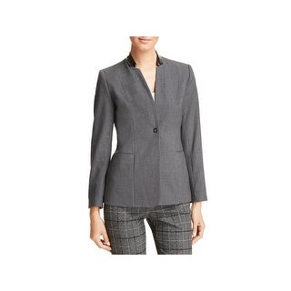 T Tahari Womens Blazer Faux Leather Trim Business