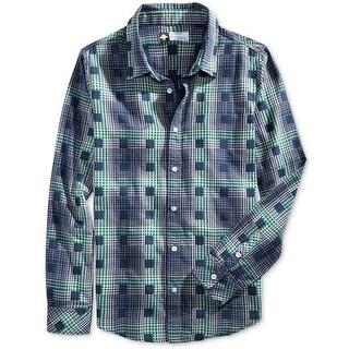 LRG NEW Navy Blue Mens Size XL Boxed Plaid-Print Button Down Shirt